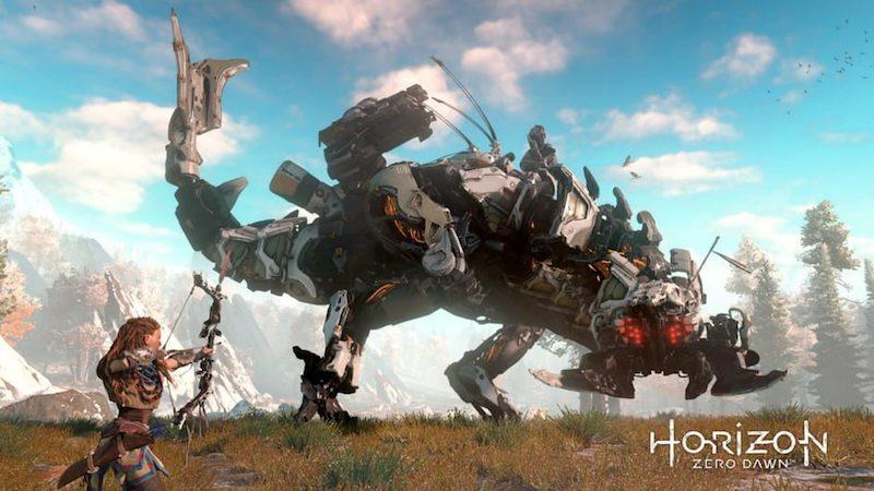 Horizon Zero Dawn, Aloy y un atronador, uno de los enemigos del juego.