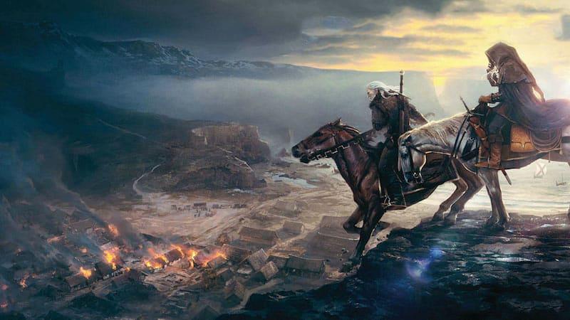 Gerald y Cyri a caballo